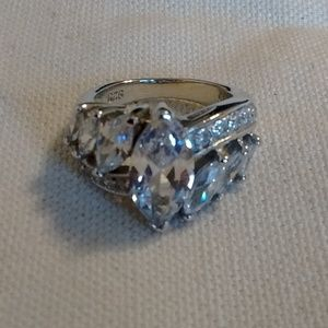 New Marquise CZ Sterling Silver Engagement Ring